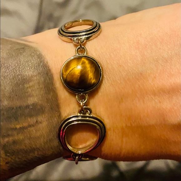4/$25  Lia Sophia toggle bracelet in silver/brown